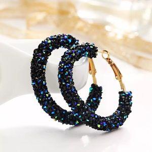 Sparkly Blue Crystal Rhinestone Hoop Earrings
